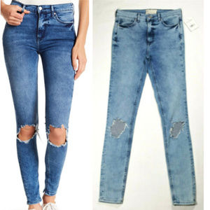 FREE PEOPLE W 27L Busted Knee Skinny Jeans 2939E1